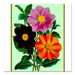 Colorful Flowers Vintage Poster Print Square Car M