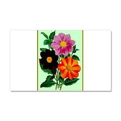Colorful Flowers Vintage Poster Print Car Magnet 2
