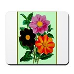 Colorful Flowers Vintage Poster Print Mousepad