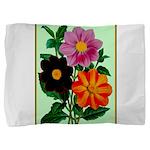 Colorful Flowers Vintage Poster Print Pillow Sham