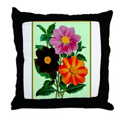 Colorful Flowers Vintage Poster Print Throw Pillow