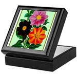 Colorful Flowers Vintage Poster Print Keepsake Box