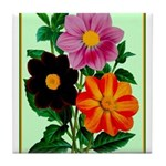 Colorful Flowers Vintage Poster Print Tile Coaster