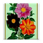 Colorful Flowers Vintage Poster Print Tile Coaster