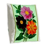 Colorful Flowers Vintage Poster Print Burlap Throw