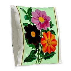 Colorful Flowers Vintage Poster Print Burlap Throw