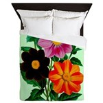 Colorful Flowers Vintage Poster Print Queen Duvet