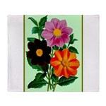 Colorful Flowers Vintage Poster Print Throw Blanke