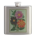 Colorful Flowers Vintage Poster Print Flask