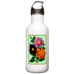 Colorful Flowers Vintage Poster Print Water Bottle