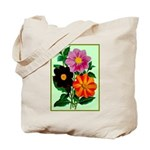 Colorful Flowers Vintage Poster Print Tote Bag