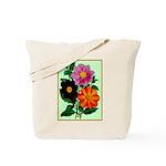 Colorful Flowers Vintage Poster Print Tote Bag