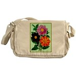 Colorful Flowers Vintage Poster Print Messenger Ba