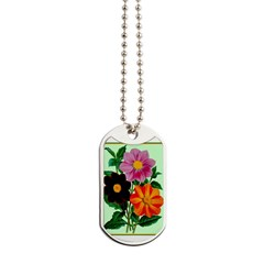 Colorful Flowers Vintage Poster Print Dog Tags