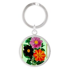 Colorful Flowers Vintage Poster Print Keychains