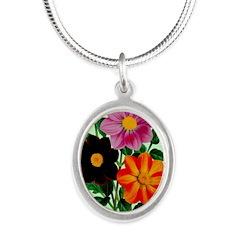 Colorful Flowers Vintage Poster Print Necklaces