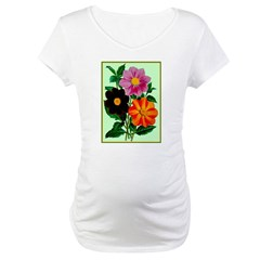 Colorful Flowers Vintage Poster Print Maternity T-