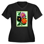 Colorful Flowers Vintage Poster Print Plus Size T-
