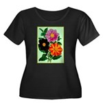 Colorful Flowers Vintage Poster Print Plus Size T-