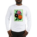 Colorful Flowers Vintage Poster Print Long Sleeve