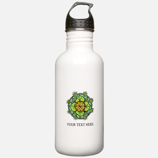 Floral mandala zen logo Sports Water Bottle