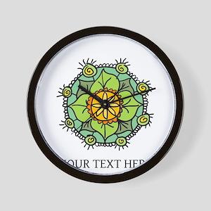 Floral mandala zen logo Wall Clock