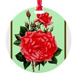 Red, Red Roses Vintage Print Round Ornament