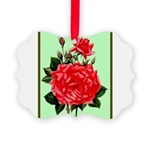 Red, Red Roses Vintage Print Picture Ornament