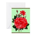 Red, Red Roses Vintage Print Greeting Cards
