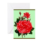 Red, Red Roses Vintage Print Greeting Cards
