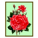 Red, Red Roses Vintage Print Small Poster
