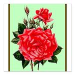 "Red, Red Roses Vintage Print Square Car Magnet 3"""
