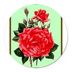 Red, Red Roses Vintage Print Round Car Magnet