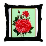 Red, Red Roses Vintage Print Throw Pillow