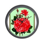 Red, Red Roses Vintage Print Wall Clock