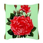 Red, Red Roses Vintage Print Woven Throw Pillow