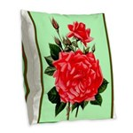 Red, Red Roses Vintage Print Burlap Throw Pillow