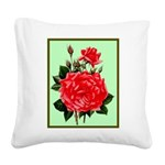 Red, Red Roses Vintage Print Square Canvas Pillow