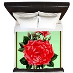 Red, Red Roses Vintage Print King Duvet