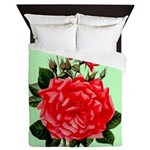 Red, Red Roses Vintage Print Queen Duvet