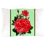 Red, Red Roses Vintage Print Pillow Case