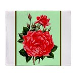 Red, Red Roses Vintage Print Throw Blanket