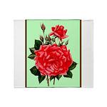 Red, Red Roses Vintage Print Throw Blanket