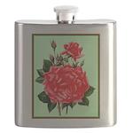 Red, Red Roses Vintage Print Flask
