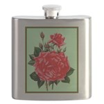Red, Red Roses Vintage Print Flask