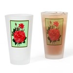 Red, Red Roses Vintage Print Drinking Glass