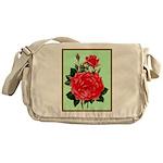 Red, Red Roses Vintage Print Messenger Bag