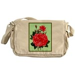 Red, Red Roses Vintage Print Messenger Bag