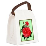 Red, Red Roses Vintage Print Canvas Lunch Bag