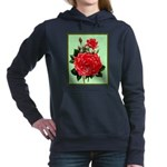 Red, Red Roses Vintage Print Women's Hooded Sweats